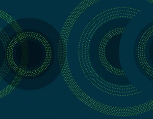 concentric circles in shades of green on blue background-SansDesk
