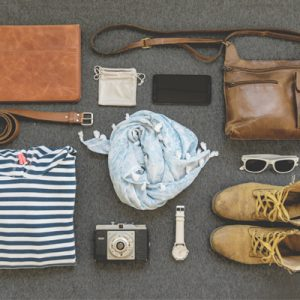 travel pack including bag belt camera watch boots sunglasses and a phone-SansDesk